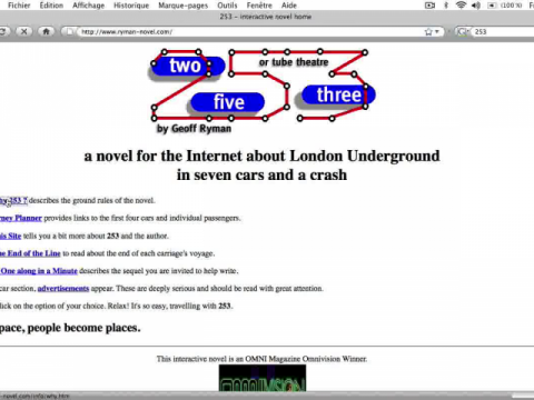 253 or Tube Theatre; a Novel for the Internet About London Underground in Seven Cars and a Crash. (navigation filmée #1)