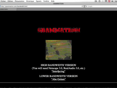 Grammatron (navigation filmée #1)