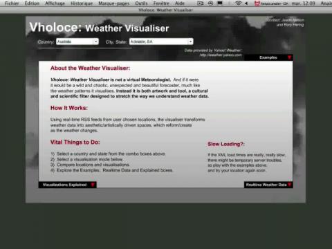 Vholoce: Weather Visualiser (navigation filmée #1)