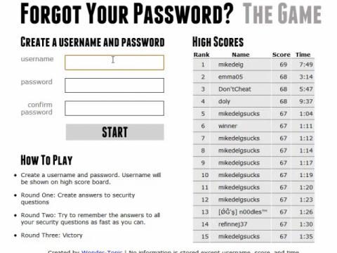 Forgot Your Password? The Game (navigation filmée #1)